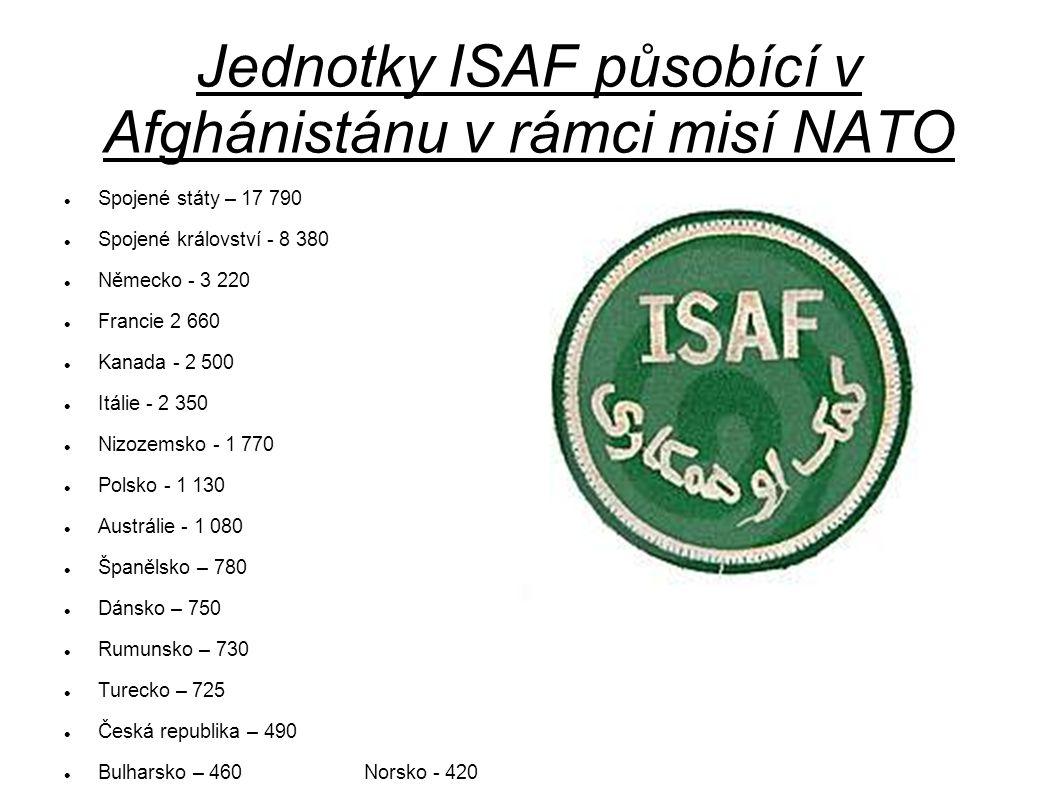 Jednotky ISAF působící v Afghánistánu v rámci misí NATO