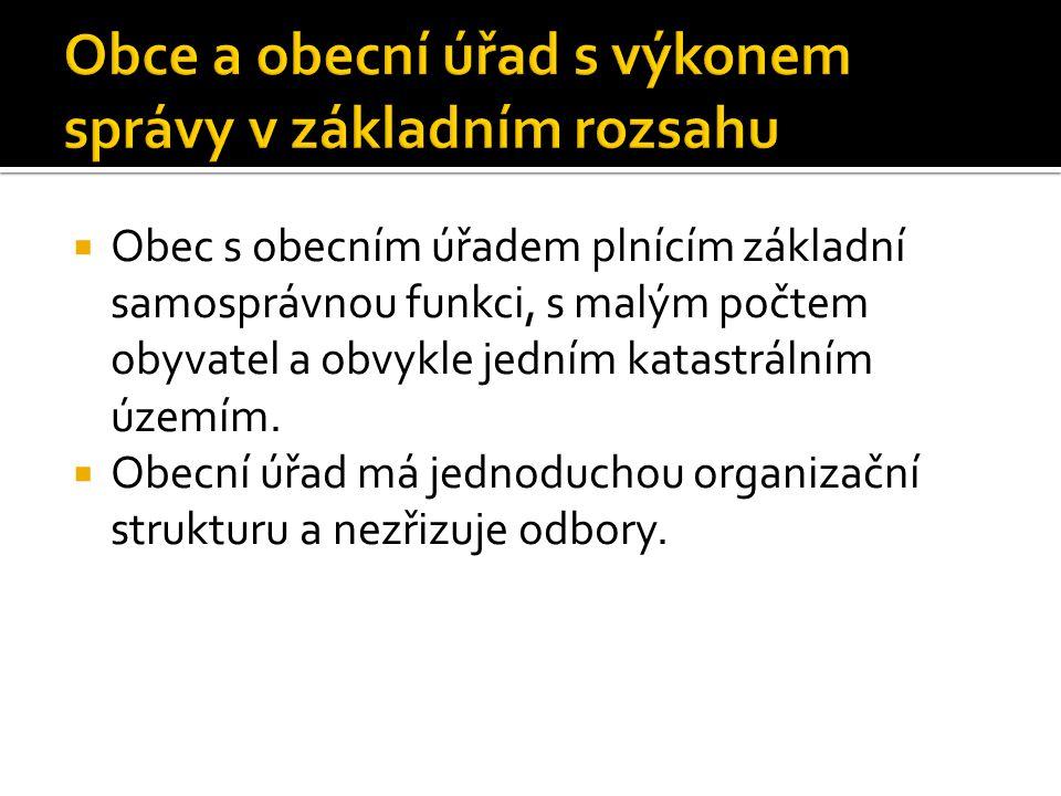 Obce a obecní úřad s výkonem správy v základním rozsahu