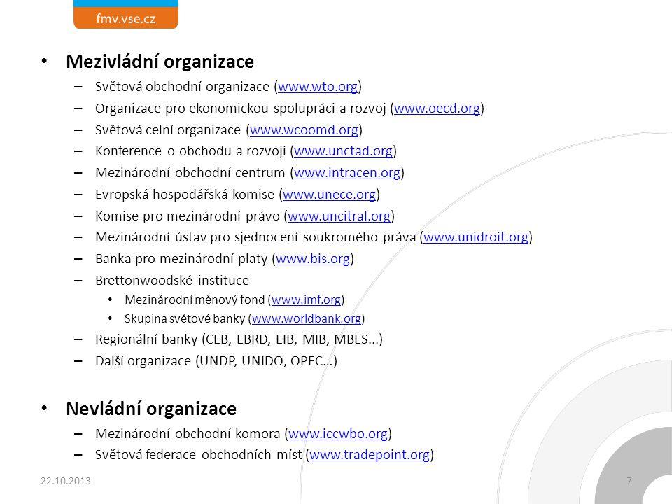 Členění mezinárodních organizací