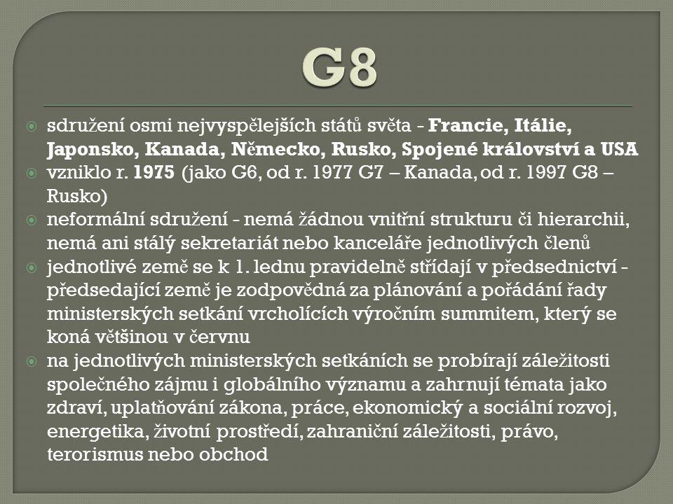 G8 sdružení osmi nejvyspělejších států světa - Francie, Itálie, Japonsko, Kanada, Německo, Rusko, Spojené království a USA.