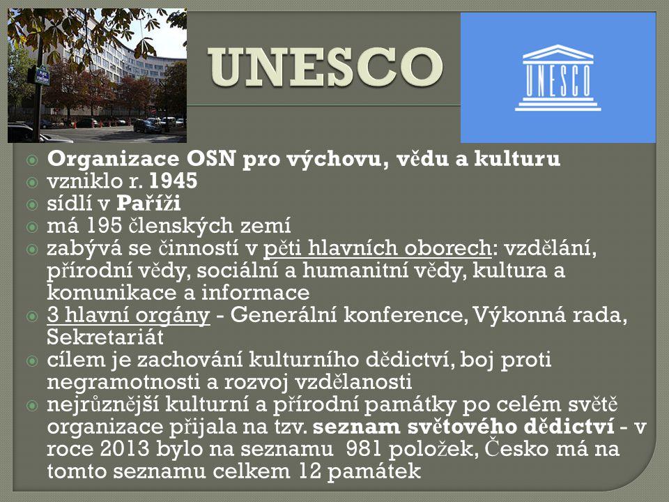 UNESCO Organizace OSN pro výchovu, vědu a kulturu vzniklo r. 1945