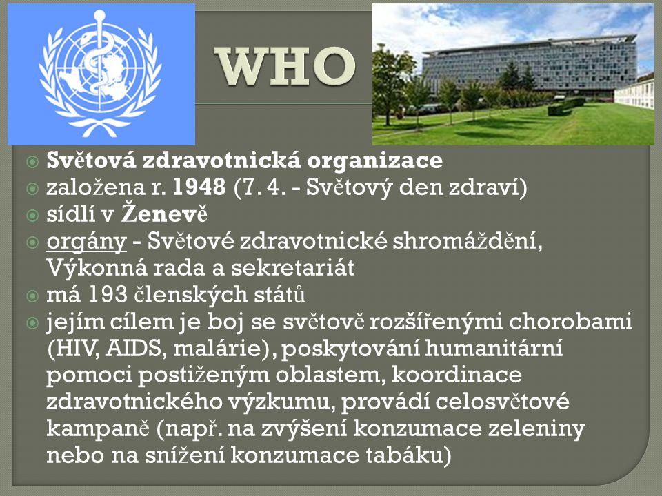 WHO Světová zdravotnická organizace