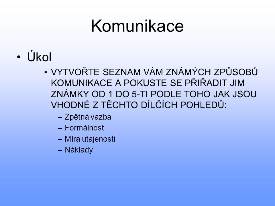 Komunikace Úkol.