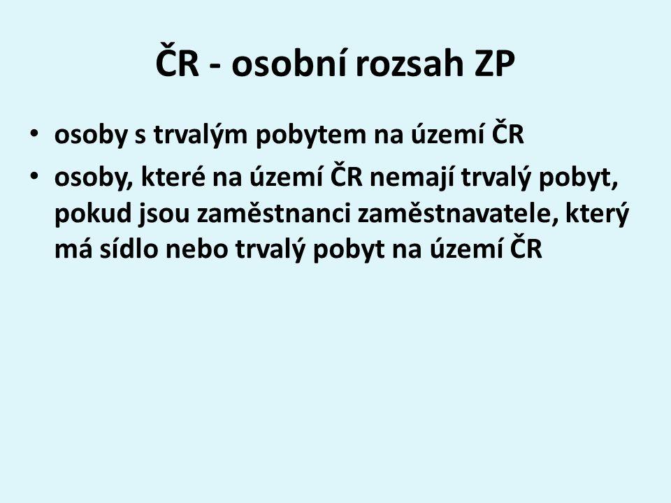 ČR - osobní rozsah ZP osoby s trvalým pobytem na území ČR