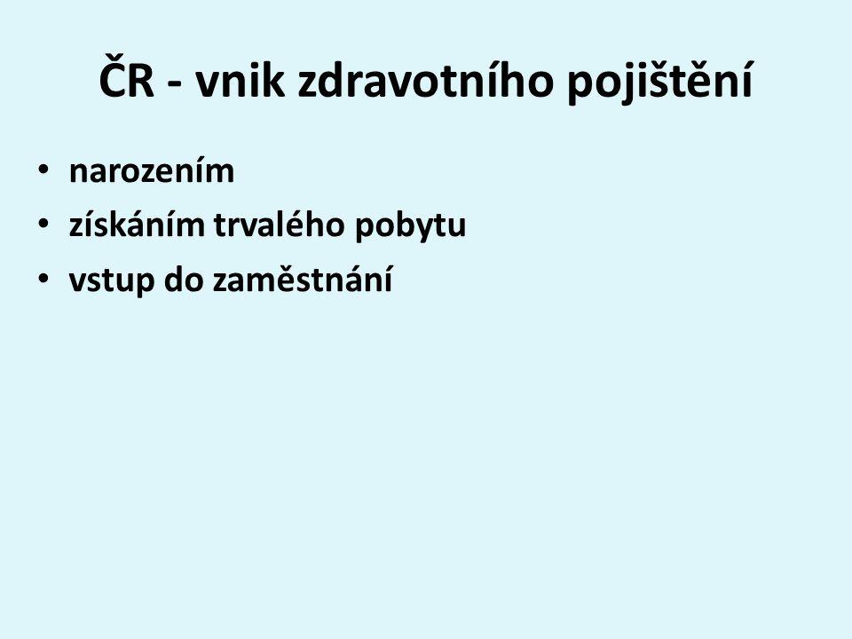 ČR - vnik zdravotního pojištění