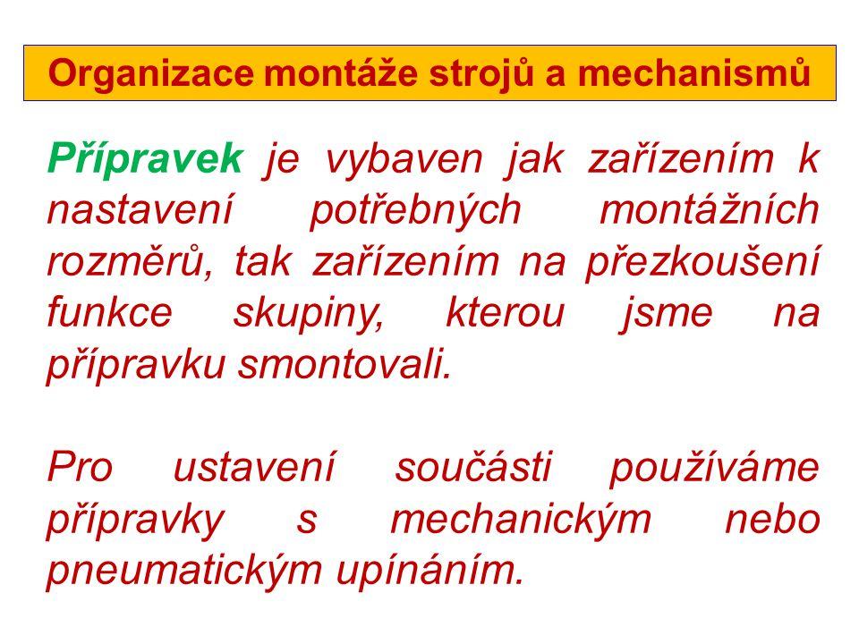Organizace montáže strojů a mechanismů
