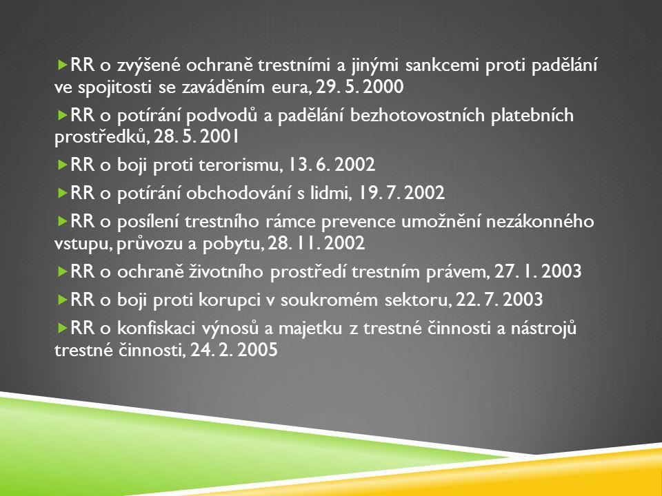 RR o zvýšené ochraně trestními a jinými sankcemi proti padělání ve spojitosti se zaváděním eura, 29. 5. 2000