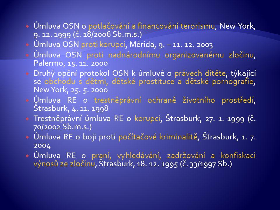 Úmluva OSN o potlačování a financování terorismu, New York, 9. 12