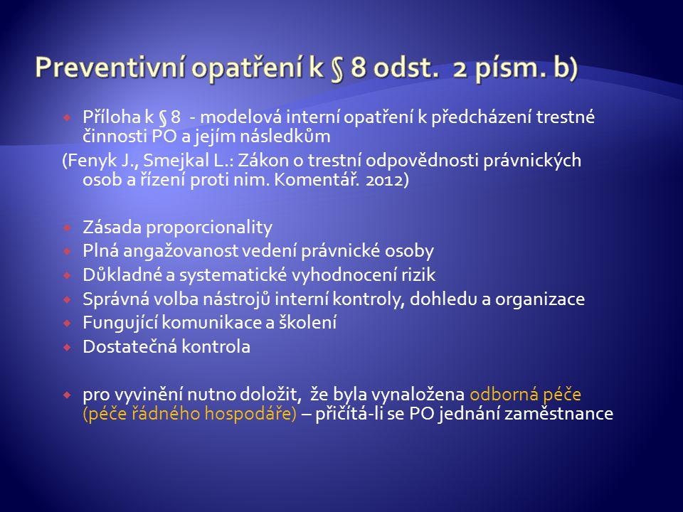 Preventivní opatření k § 8 odst. 2 písm. b)