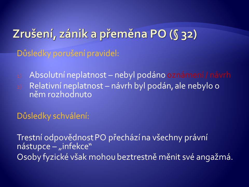 Zrušení, zánik a přeměna PO (§ 32)