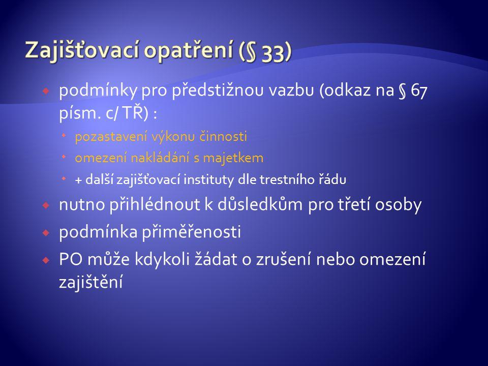 Zajišťovací opatření (§ 33)