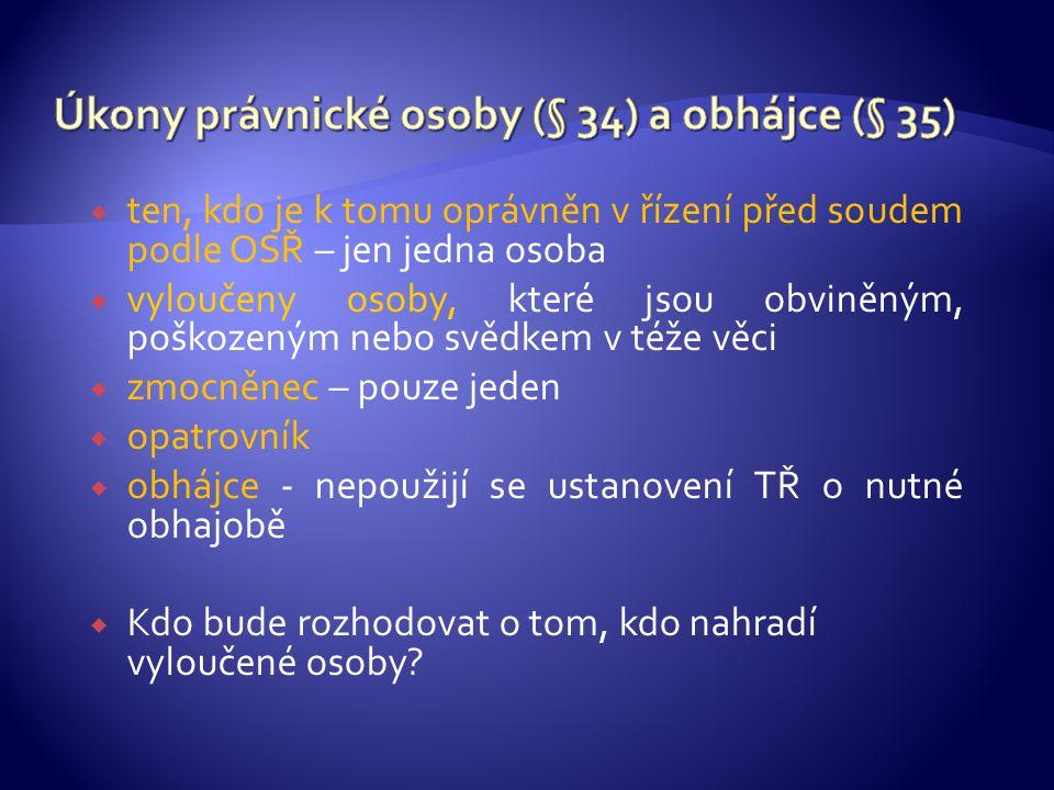 Úkony právnické osoby (§ 34) a obhájce (§ 35)