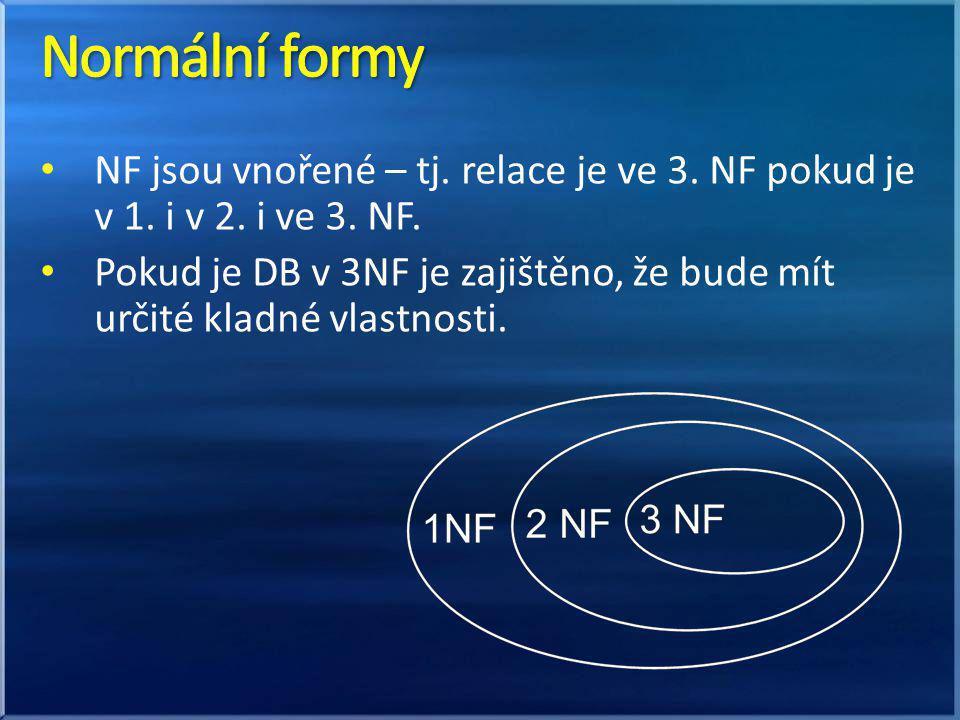 Normální formy NF jsou vnořené – tj. relace je ve 3. NF pokud je v 1. i v 2. i ve 3. NF.