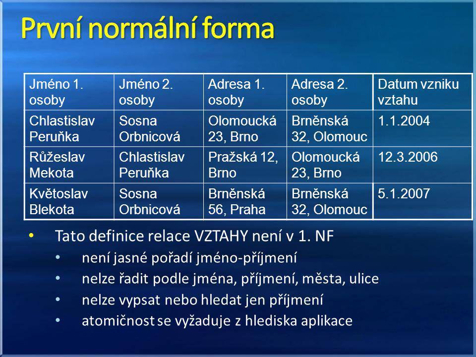 První normální forma Tato definice relace VZTAHY není v 1. NF