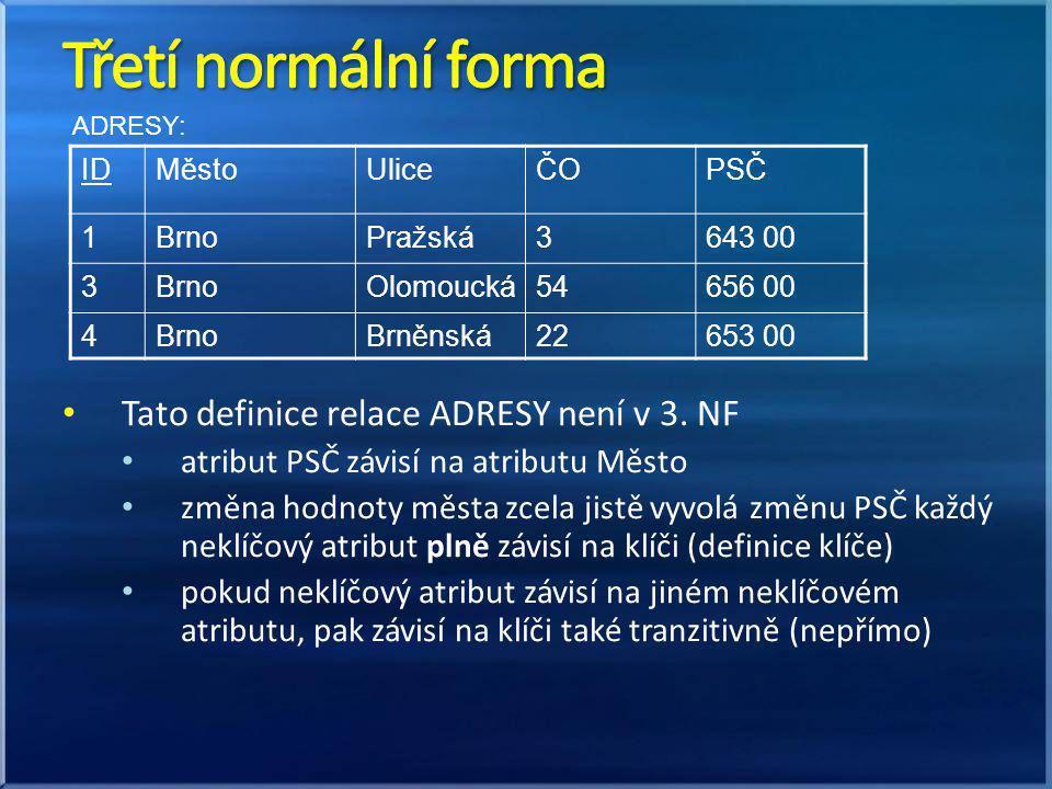 Třetí normální forma Tato definice relace ADRESY není v 3. NF