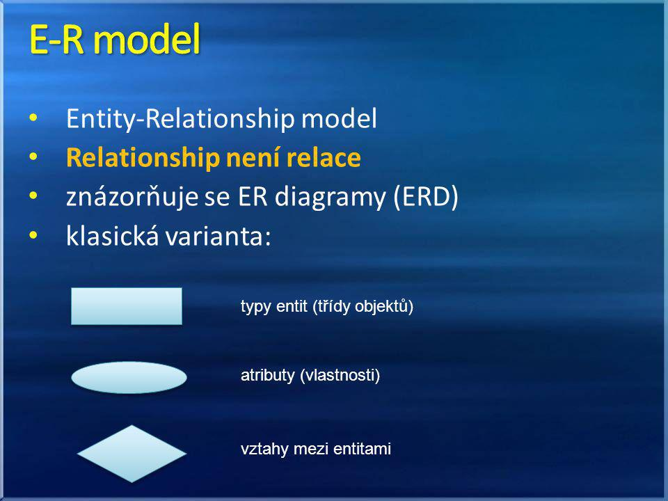 E-R model Entity-Relationship model Relationship není relace