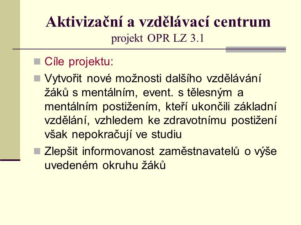 Aktivizační a vzdělávací centrum projekt OPR LZ 3.1