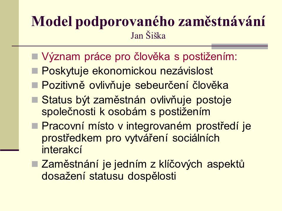 Model podporovaného zaměstnávání Jan Šiška