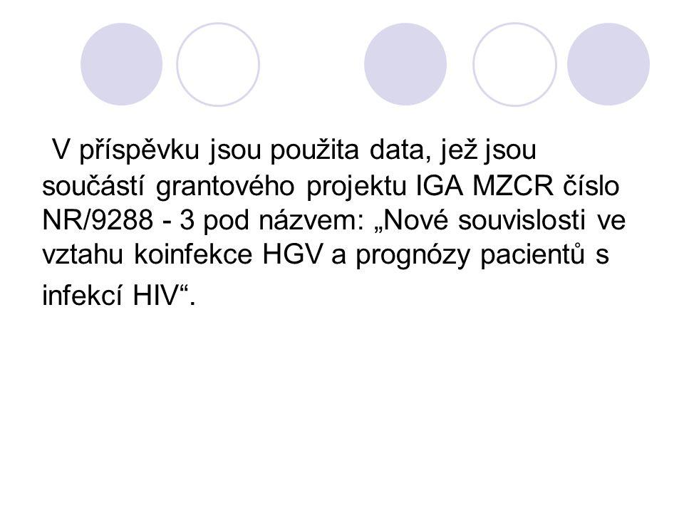 """V příspěvku jsou použita data, jež jsou součástí grantového projektu IGA MZCR číslo NR/9288 - 3 pod názvem: """"Nové souvislosti ve vztahu koinfekce HGV a prognózy pacientů s infekcí HIV ."""