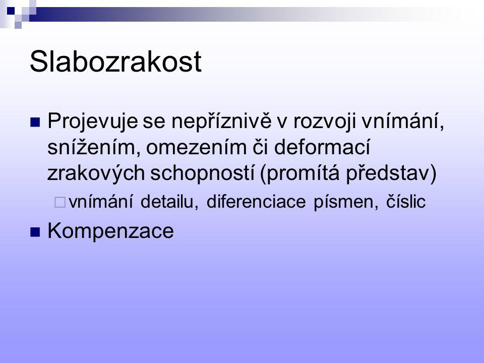 Slabozrakost Projevuje se nepříznivě v rozvoji vnímání, snížením, omezením či deformací zrakových schopností (promítá představ)