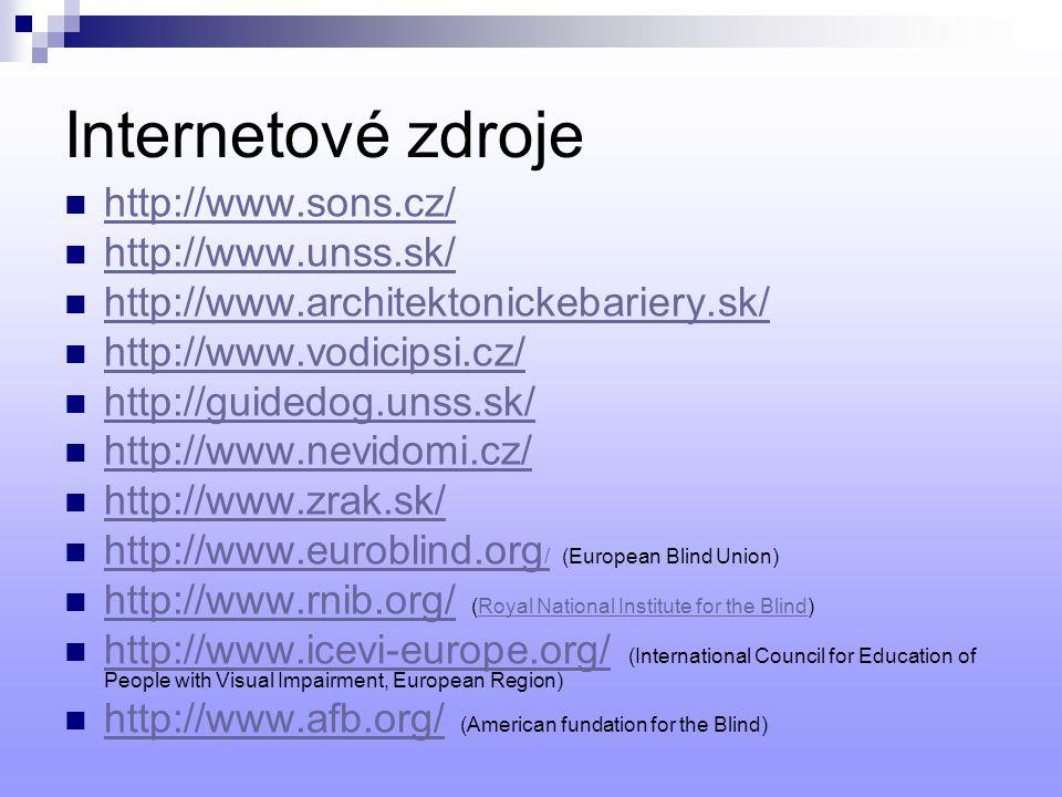 Internetové zdroje http://www.sons.cz/ http://www.unss.sk/