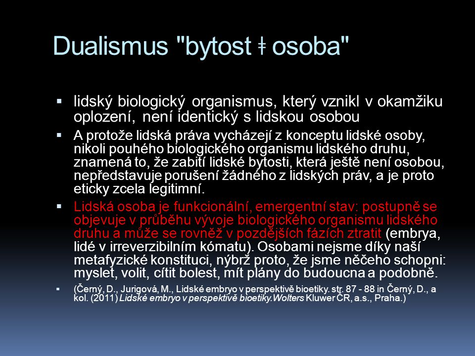 Dualismus bytost ǂ osoba