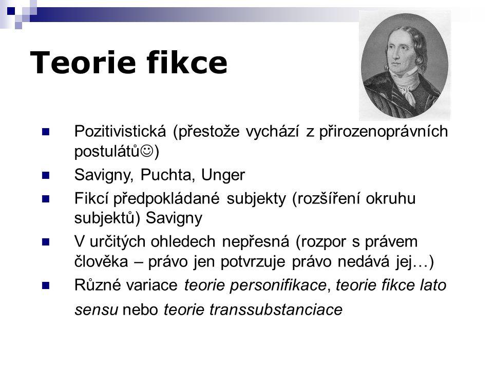 Teorie fikce Pozitivistická (přestože vychází z přirozenoprávních postulátů) Savigny, Puchta, Unger.