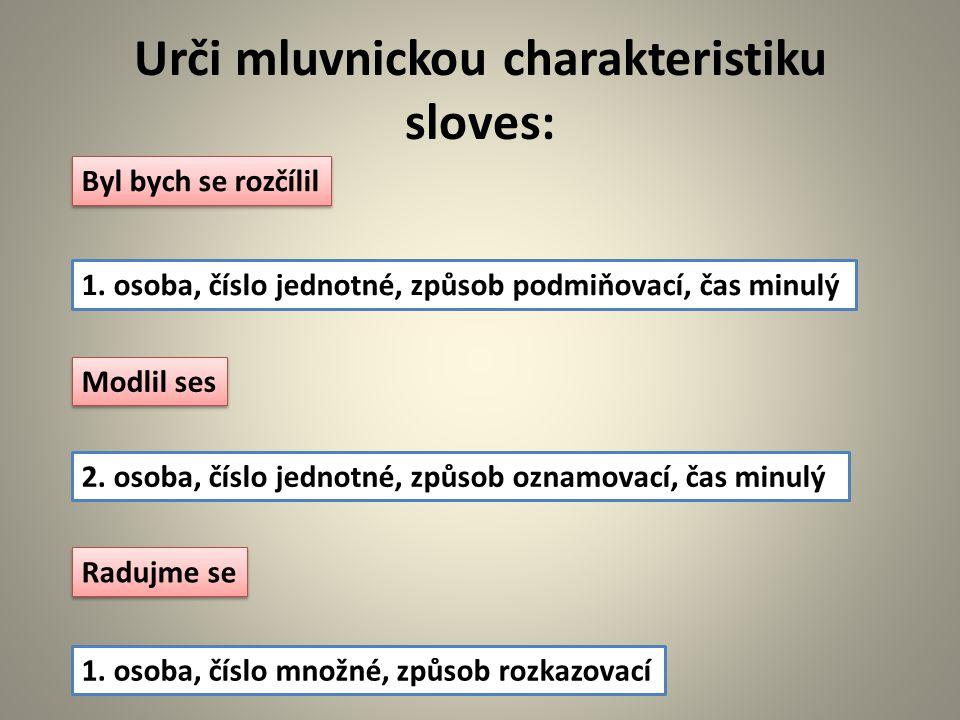 Urči mluvnickou charakteristiku sloves: