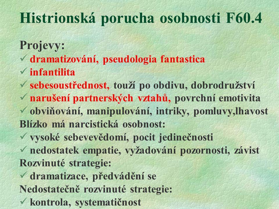 Histrionská porucha osobnosti F60.4