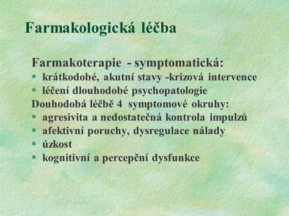 Farmakologická léčba Farmakoterapie - symptomatická:
