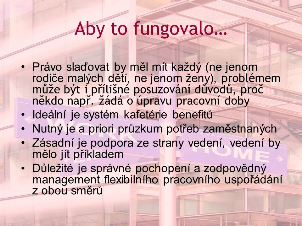 Aby to fungovalo…
