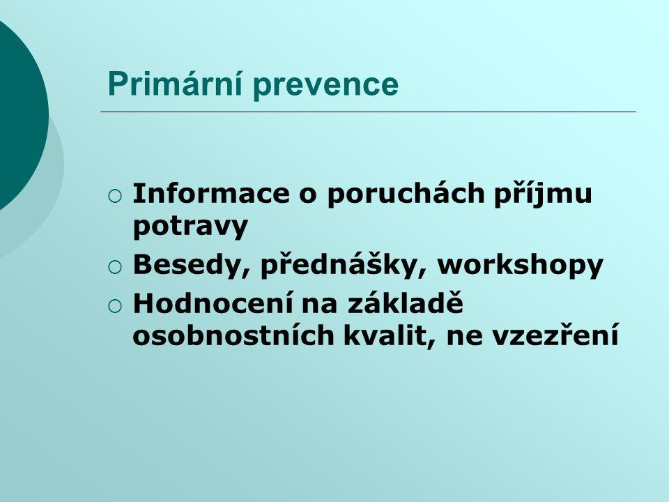 Primární prevence Informace o poruchách příjmu potravy