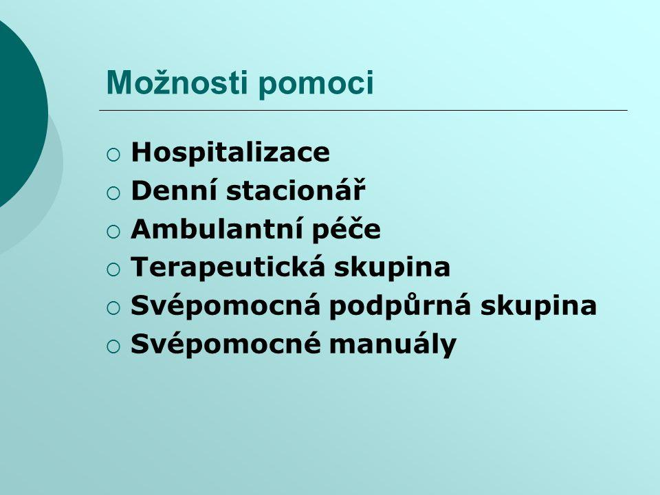 Možnosti pomoci Hospitalizace Denní stacionář Ambulantní péče