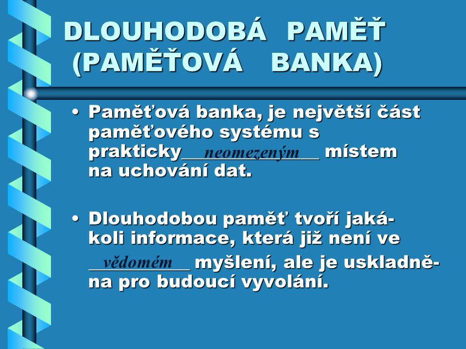 DLOUHODOBÁ PAMĚŤ (PAMĚŤOVÁ BANKA)