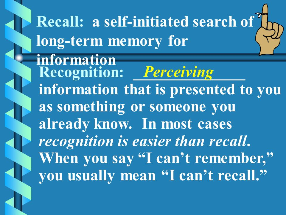 Recall: a self-initiated search of long-term memory for information