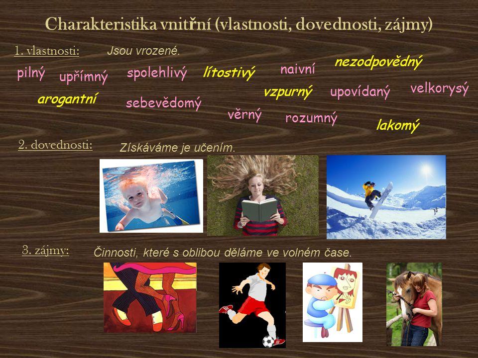 Charakteristika vnitřní (vlastnosti, dovednosti, zájmy)