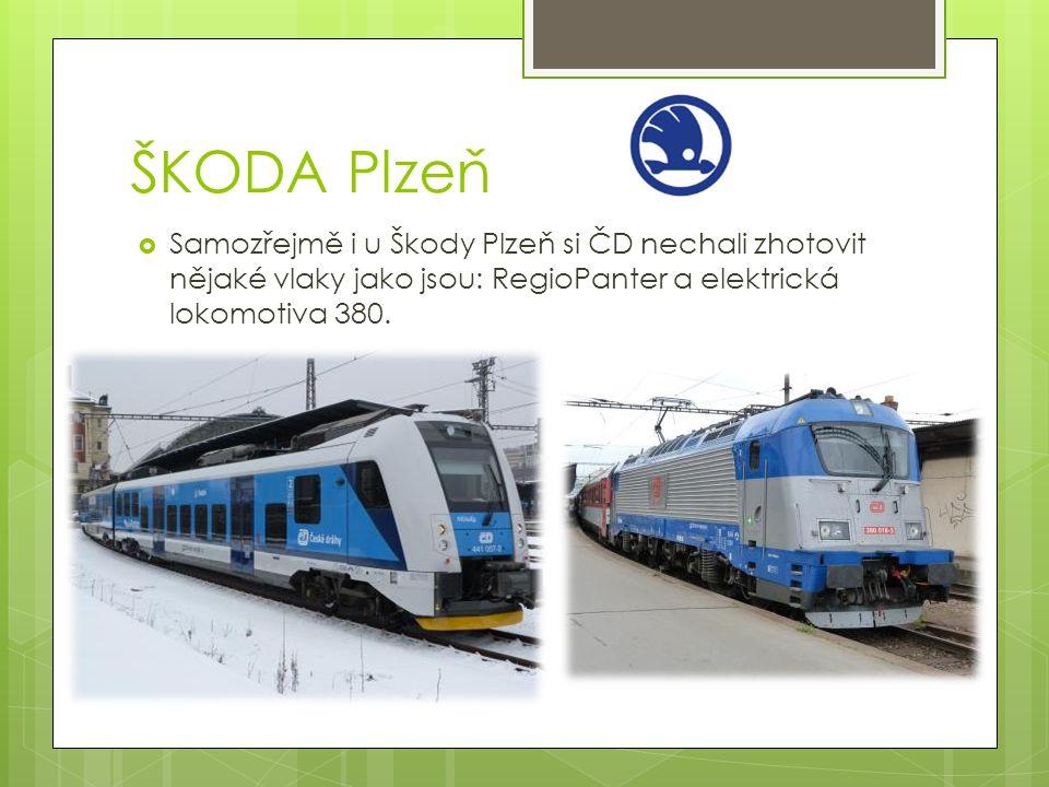 ŠKODA Plzeň Samozřejmě i u Škody Plzeň si ČD nechali zhotovit nějaké vlaky jako jsou: RegioPanter a elektrická lokomotiva 380.