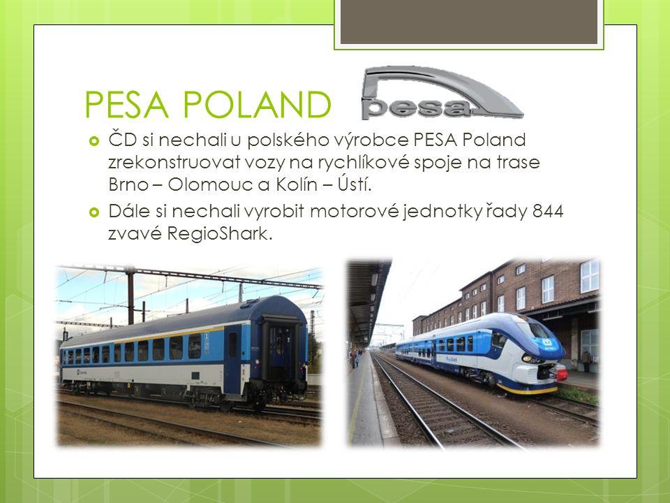 PESA POLAND ČD si nechali u polského výrobce PESA Poland zrekonstruovat vozy na rychlíkové spoje na trase Brno – Olomouc a Kolín – Ústí.