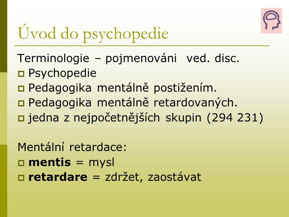 Úvod do psychopedie Terminologie – pojmenováni ved. disc. Psychopedie