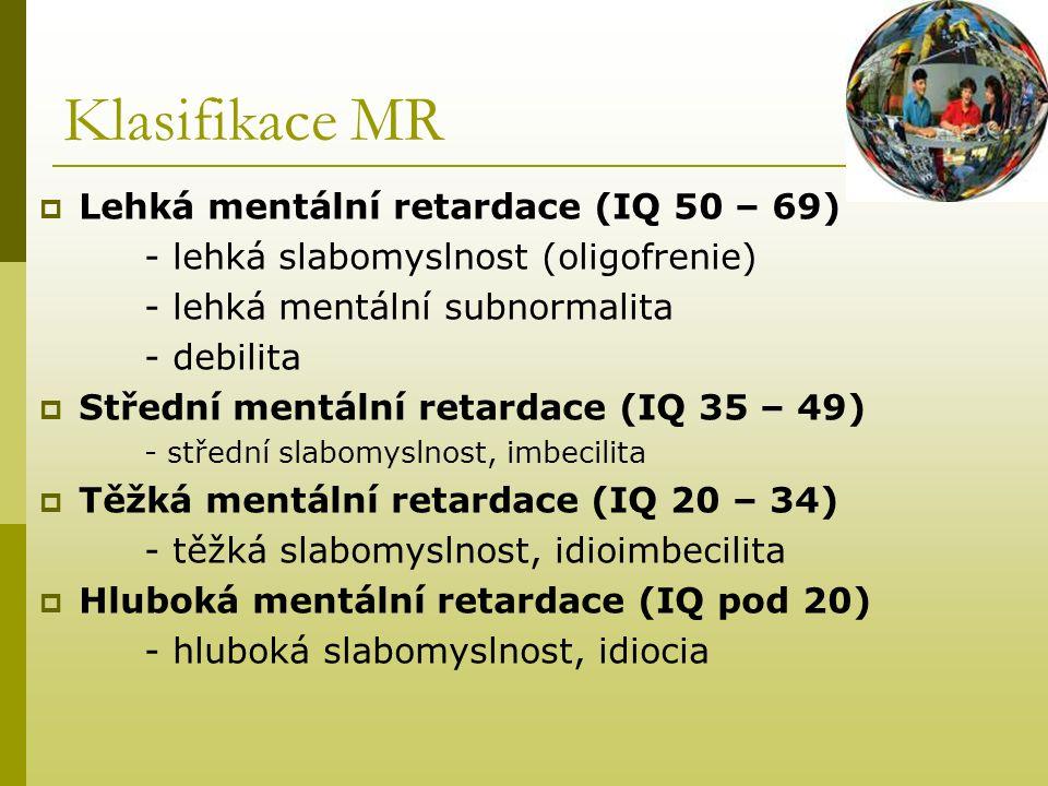 Klasifikace MR Lehká mentální retardace (IQ 50 – 69)