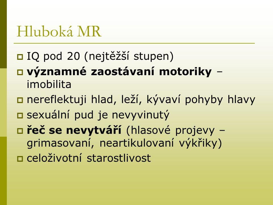 Hluboká MR IQ pod 20 (nejtěžší stupen)