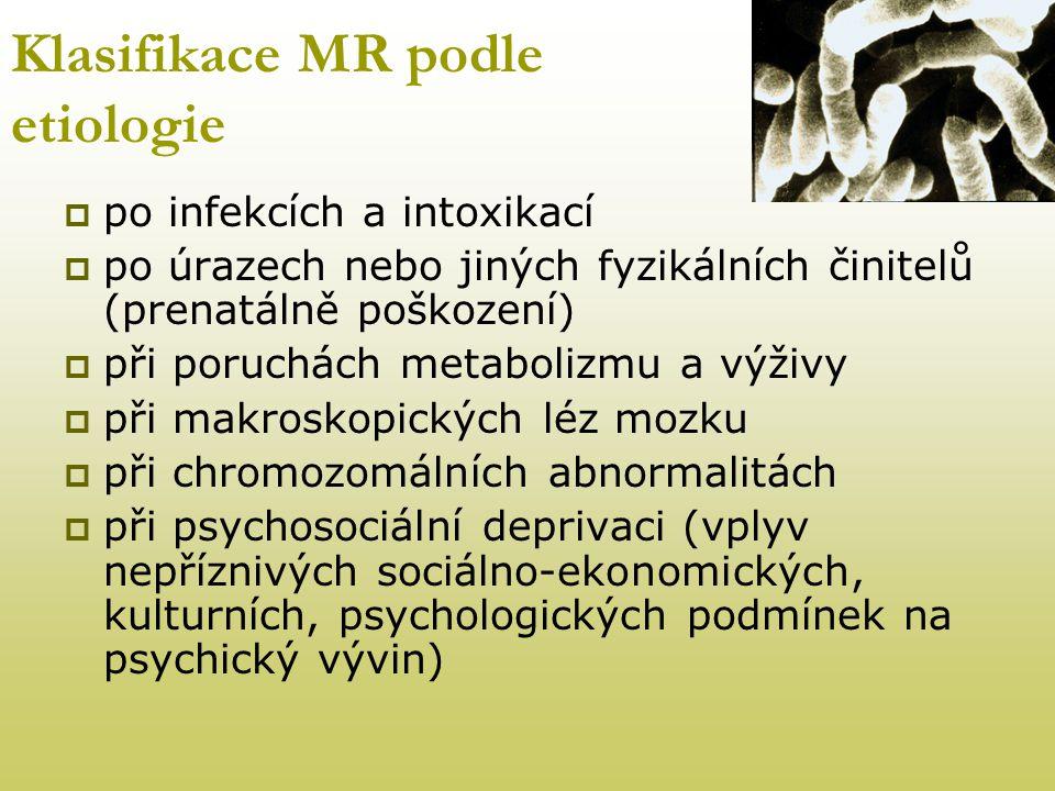 Klasifikace MR podle etiologie