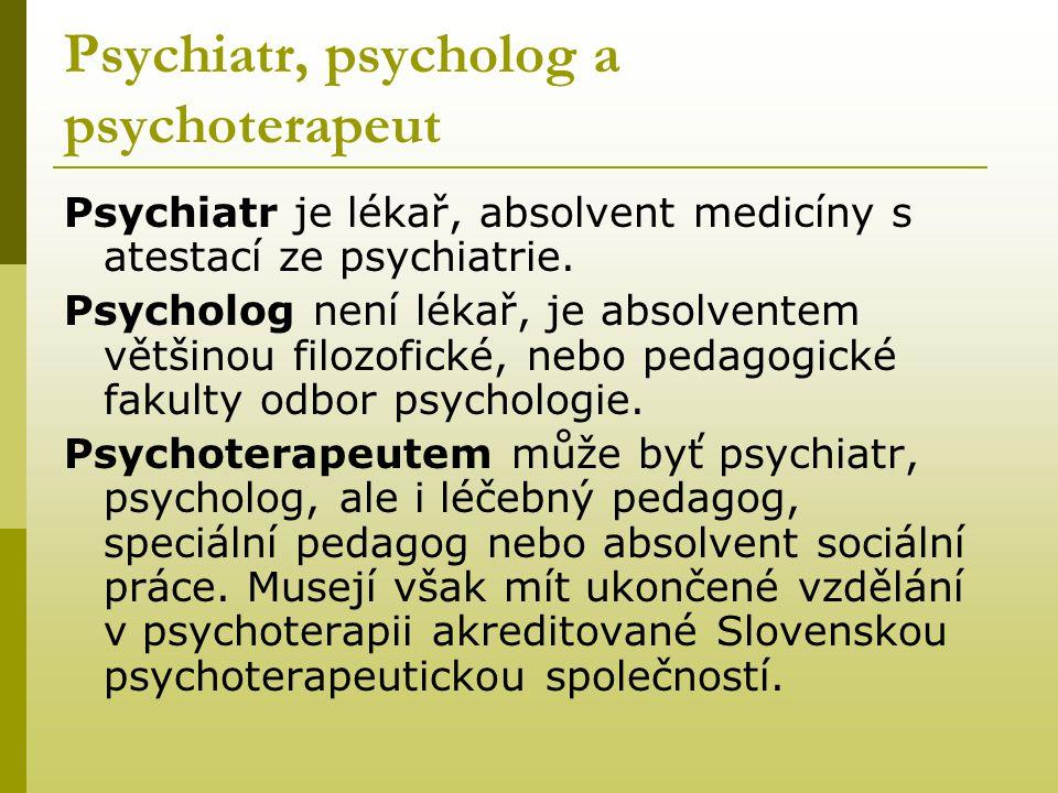 Psychiatr, psycholog a psychoterapeut
