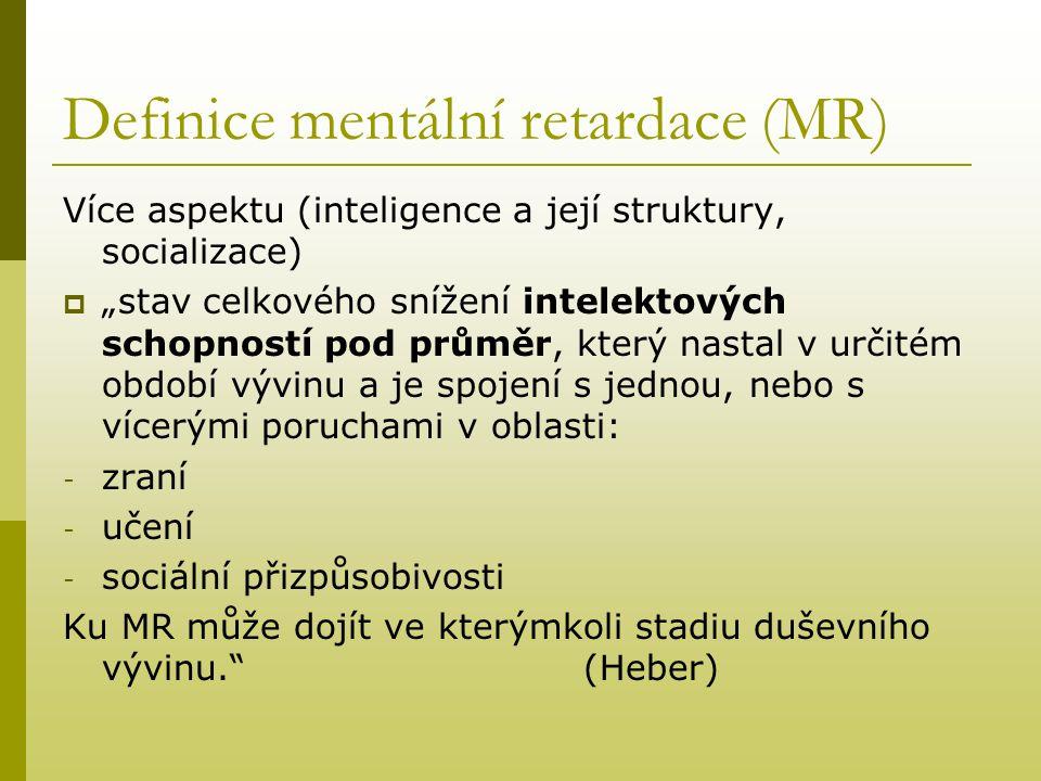 Definice mentální retardace (MR)