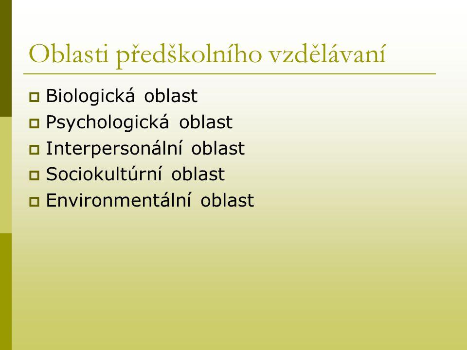 Oblasti předškolního vzdělávaní