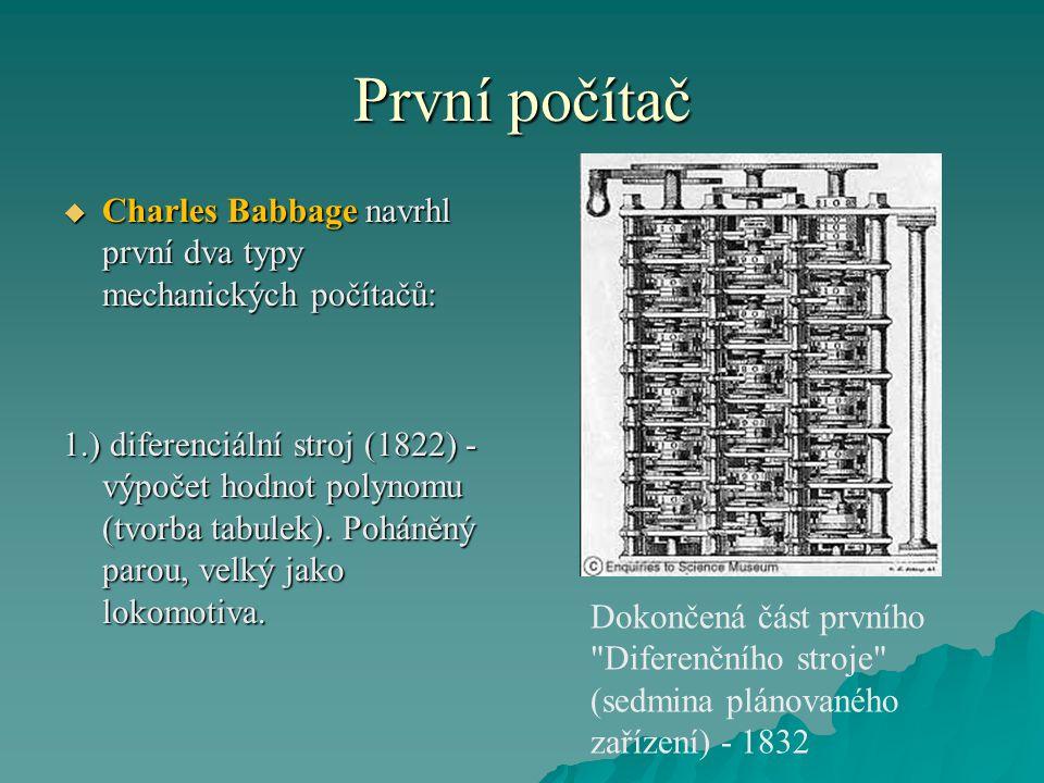 První počítač Charles Babbage navrhl první dva typy mechanických počítačů:
