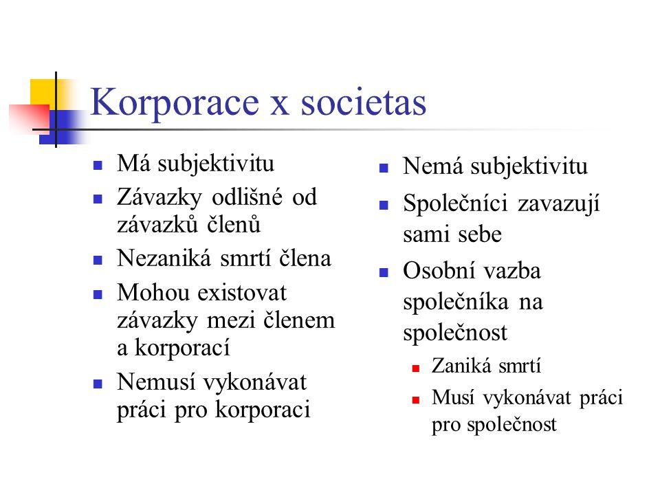 Korporace x societas Má subjektivitu Závazky odlišné od závazků členů