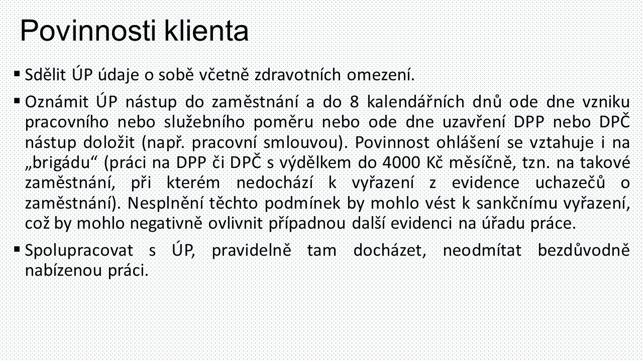 Povinnosti klienta Sdělit ÚP údaje o sobě včetně zdravotních omezení.