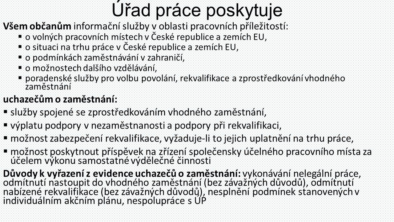 Úřad práce poskytuje Všem občanům informační služby v oblasti pracovních příležitostí: o volných pracovních místech v České republice a zemích EU,