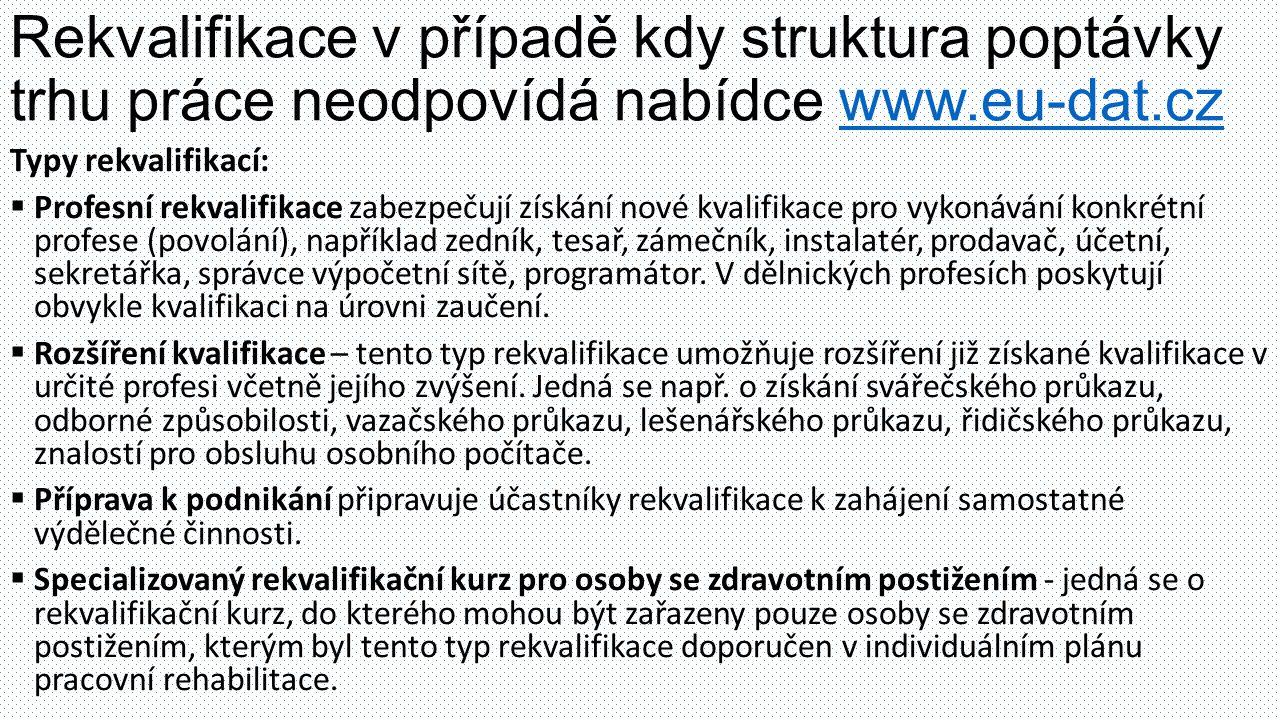 Rekvalifikace v případě kdy struktura poptávky trhu práce neodpovídá nabídce www.eu-dat.cz